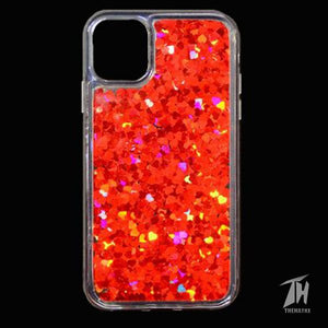 Red Glitter Heart Case For Apple iphone 11 pro max