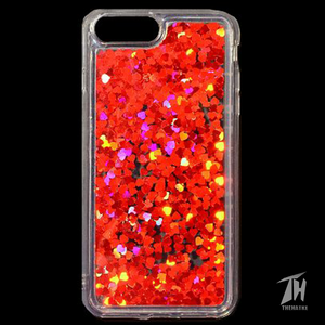 Red Glitter Heart Case For Apple iphone 8 plus
