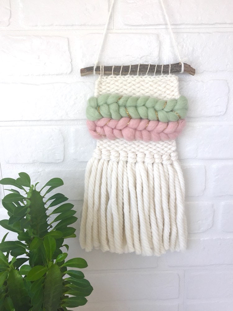 Mini Wall Hanging - Green/Pink