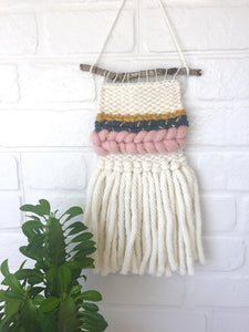 Mini Wall Hanging - Mustard/Grey/Pink