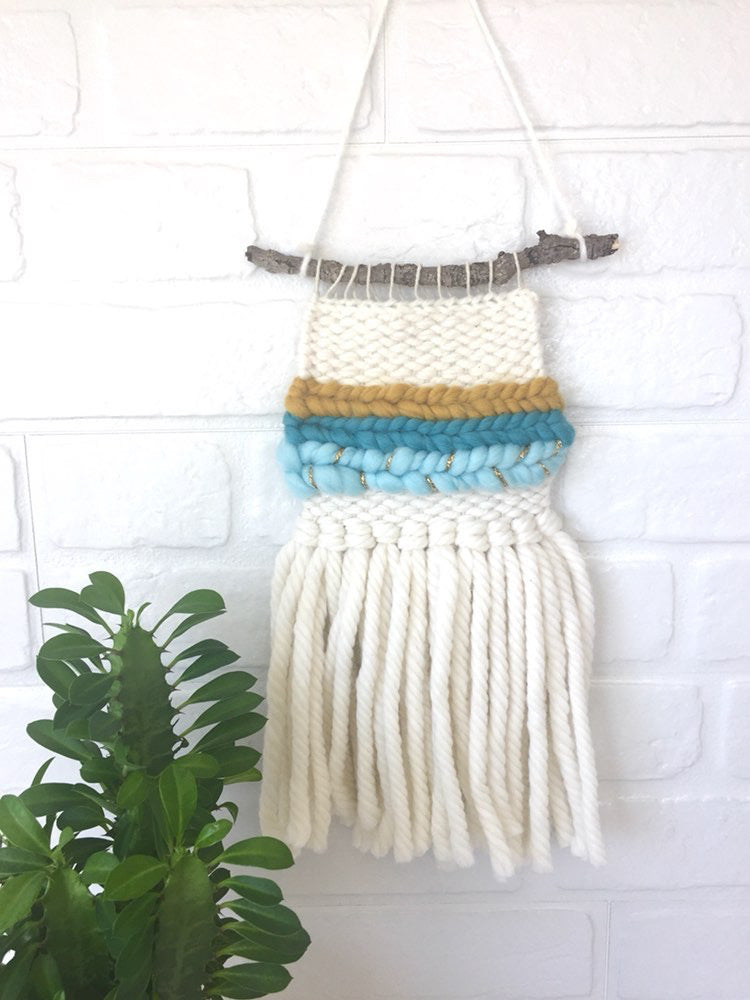 Mini Wall Hanging - Mustard/Blue