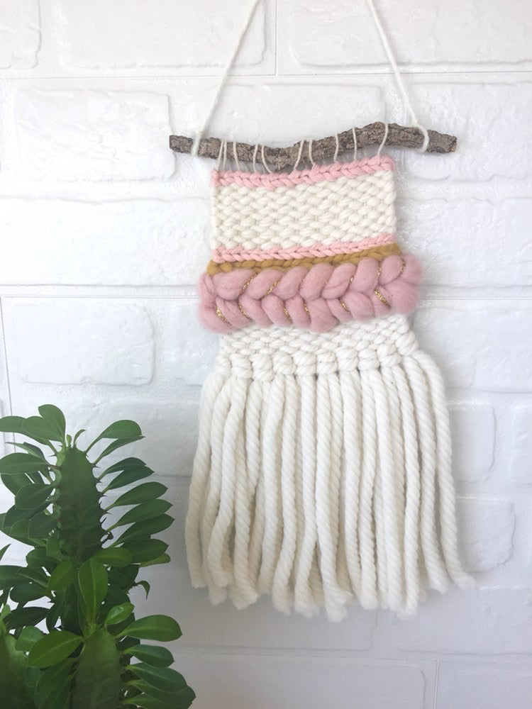 Mini Wall Hanging - Mustard/Pink