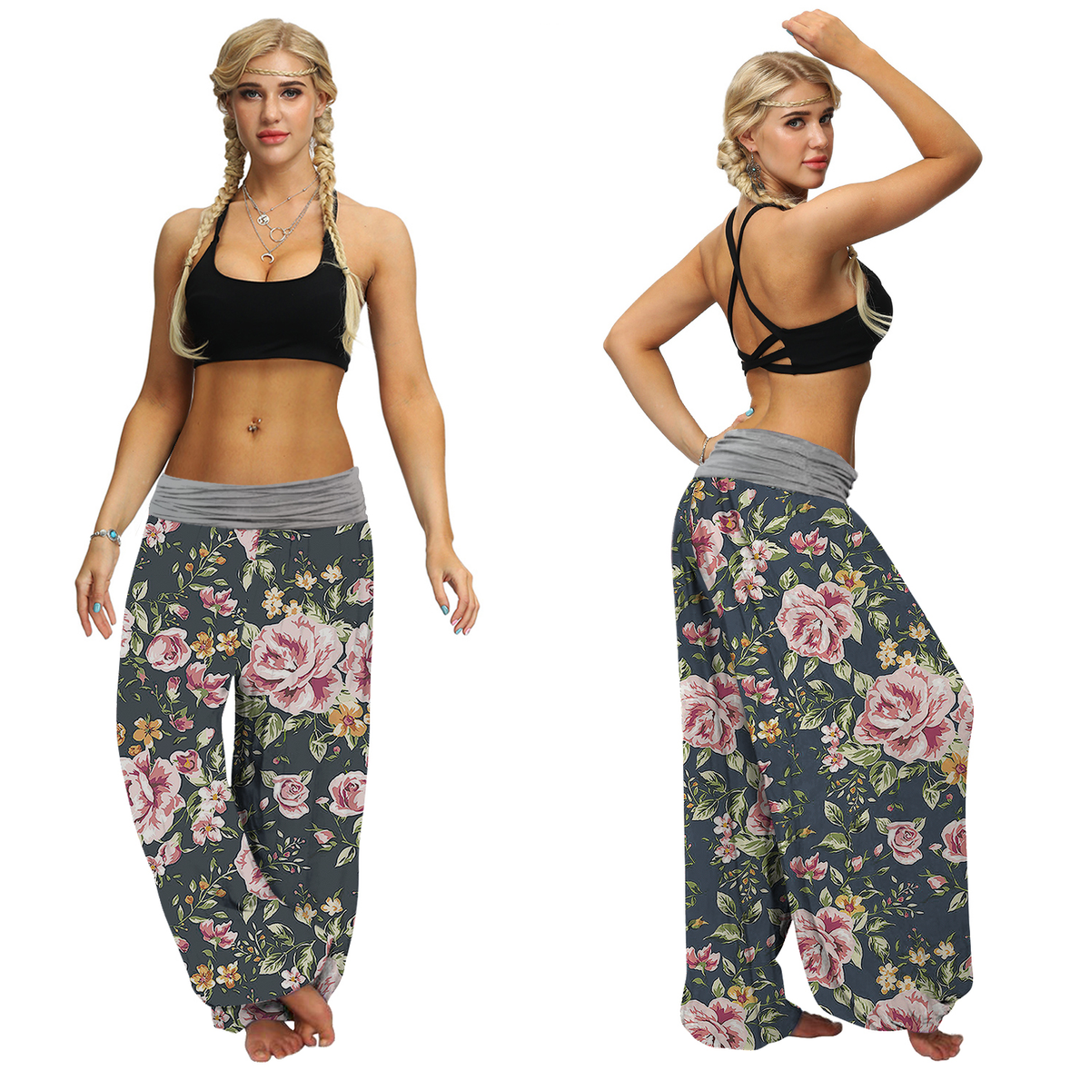 Women's Baggy Harem Grey Floral Pants
