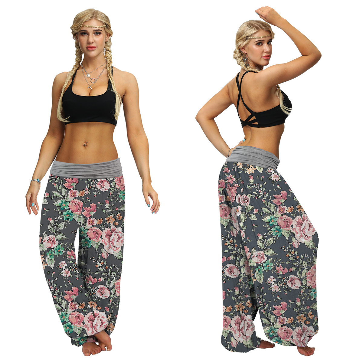 Chrysanthemum Floral Baggy Harem Pants