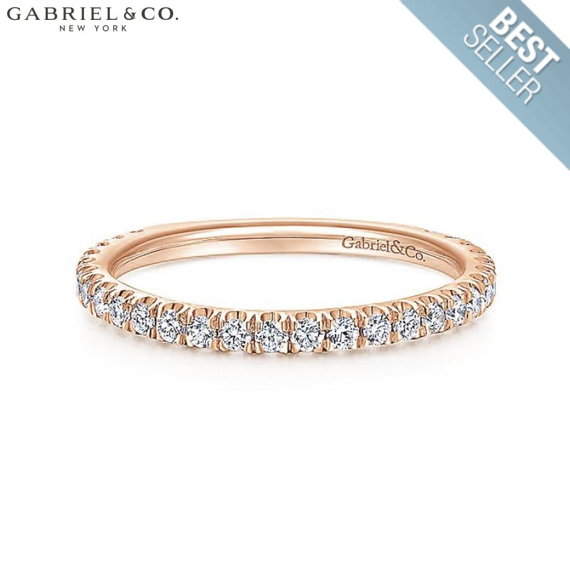 14Kt 0.42Ctw Natural Diamond Ring 1.9Mm Rose Gold Wed & Anniv