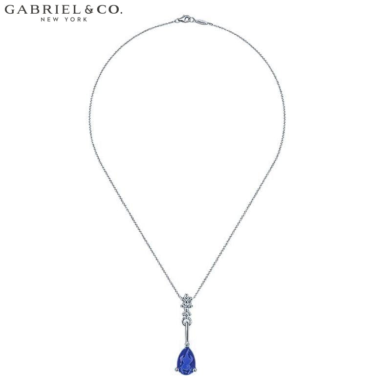 14Kw 0.03Ctw Natural Diamond And Sapphire Necklace Jewellery