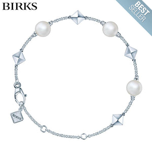 Sterling Silver Rock and Pearl Bracelet