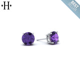 14kt 5mm Amethyst Earrings