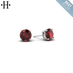 14kt 5mm Mozambique Garnet Earrings