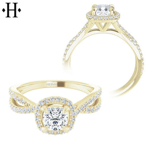 0.50ctr-0.75ctr Cushion Cut Diamond Customizable Ring