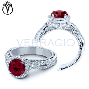 18kt Round Lab Grown Ruby Venetian Ring