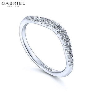 14KW 0.23ctw Natural Diamond Curved Ring 3.7mm