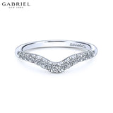 14KW 0.22ctw Natural Diamond Curved Ring 4.0mm