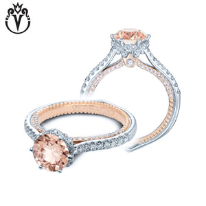 18kt Round Morganite Couture Ring