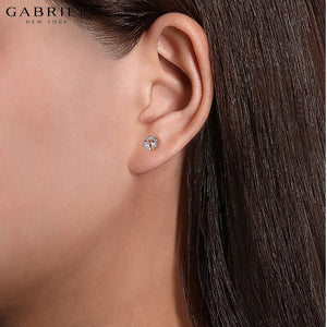14KR 0.07ctw Natural Diamond and Morganite Earrings