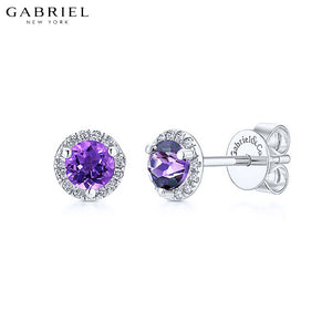 14kt Natural Diamond & Amethyst Earrings