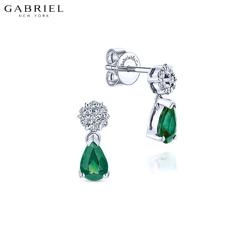 14KW 0.12ctw Natural Diamond and Emerald Earrings