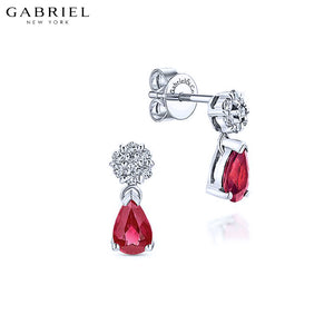 14KW 0.12ctw Natural Diamond and Ruby Earrings