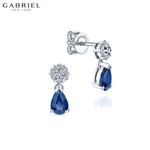 14KW 0.12ctw Natural Diamond and Sapphire Earrings