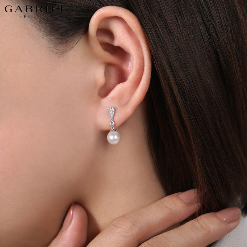 14KW 0.06ctw Natural Diamond & Pearl Earrings