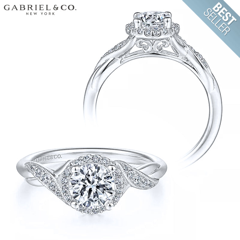 14kt Customizable Round Cut Diamond Ring