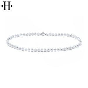 14kt 6.5mm Cultured Ming White Pearl Necklace