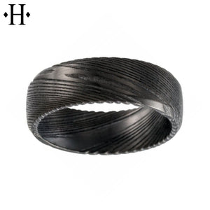 Black Damascus Steel Comfort Fit Ring 8mm