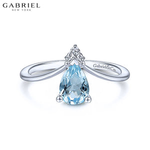 14KW 0.03ctw Natural Diamond & Blue Topaz Ring