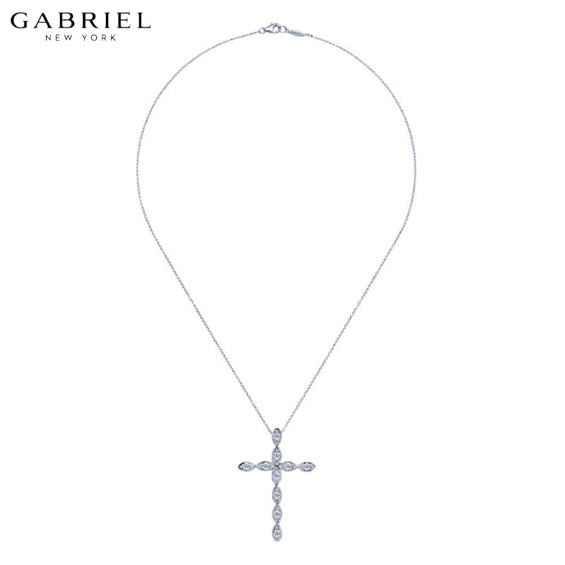 14kt 0.15ctw Natural Diamond Cross Necklace