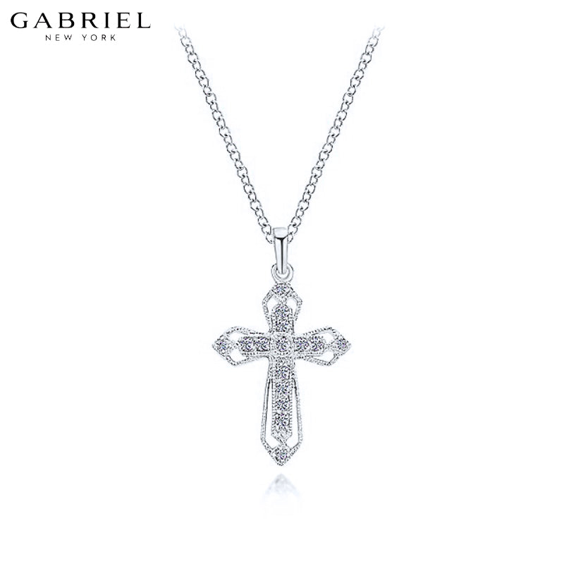14kt 0.10ctw Natural Diamond Cross Necklace
