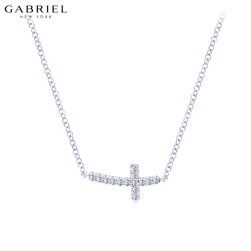 14kt 0.06ctw Natural Diamond Cross Necklace