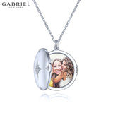 Sterling Silver White Sapphire Locket Necklace
