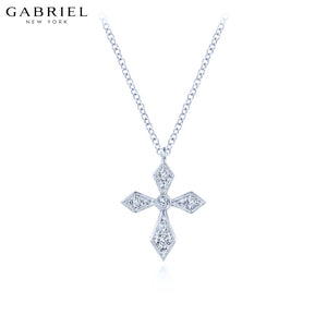 14kt 0.07ctw Natural Diamond Cross Necklace
