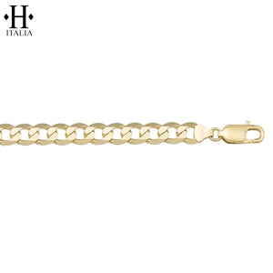 10kt 7.3mm Italian Solid Curb Bracelet