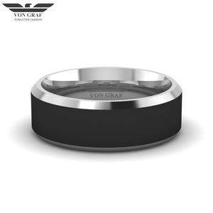 Jet PVD & Tungsten Carbide Luxury Fit Ring 8mm