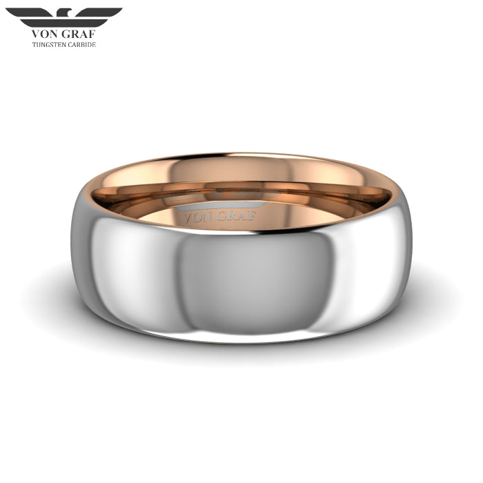 Rose Gold PVD Tungsten Carbide Luxury Fit Ring 8mm