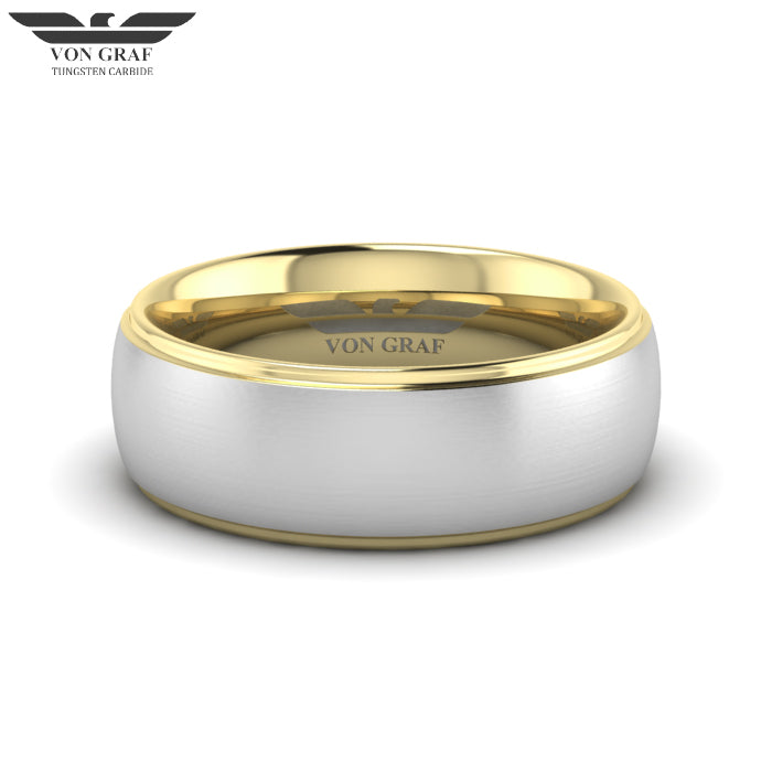 Yellow Gold PVD Tungsten Carbide Luxury Fit Ring 8mm