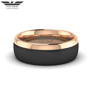 Rose Gold & Gun Metal PVD Tungsten Carbide Ring 8mm