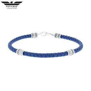 Steling Silver & Leather Cavalry Bracelet