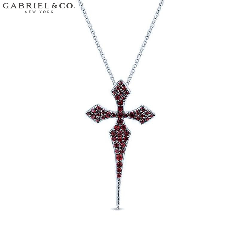 Sterling Silver Garnet Cross Necklace Jewellery