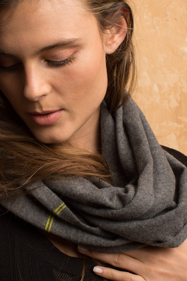 Cashmere Blend Infinity Scarf Charcoal