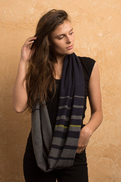 Cashmere Blend Infinity Scarf Indigo/Charcoal