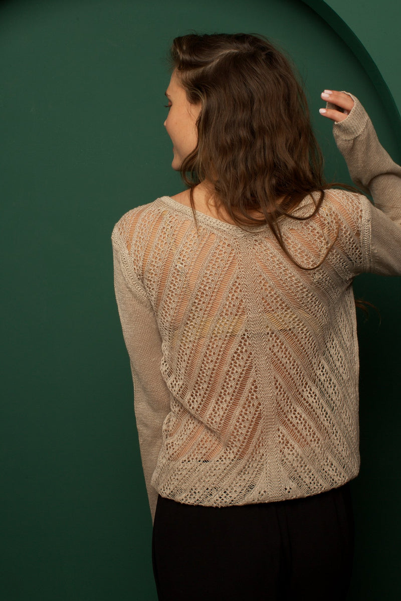 Linen Crochet Back Sweater