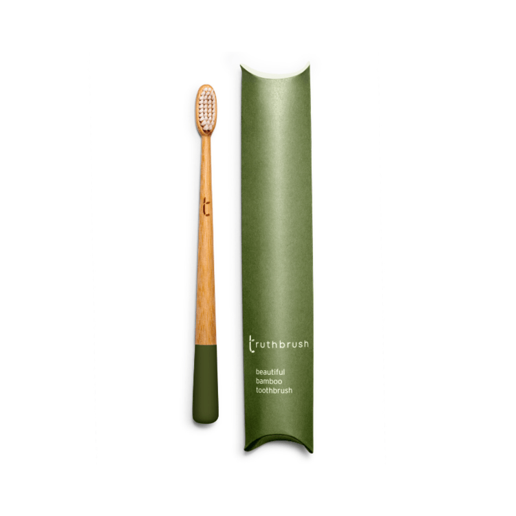 Bamboo toothbrush with Medium plant based bristles in Moss Green- Zero_Waste_Hub