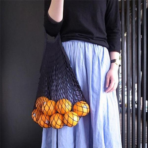 Cotton String Bag- Black- Zero_Waste_Hub
