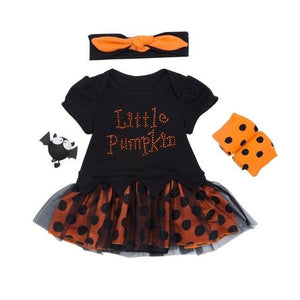 Halloween Costume Newborn One-pieces Short Sleeve Pumpkin Baby Bodysuit+Leg Warms+Headband 3pcs Baby Products For 0-24M