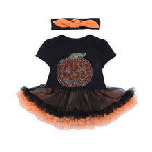 Load image into Gallery viewer, Pumpkin Sequin Baby Halloween Costume Toddler Lace Romper Dress Headband 2pcs Suits Newborn Tutu Sets Infant Clothing Sets