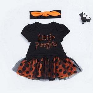 Pumpkin Sequin Baby Halloween Costume Toddler Lace Romper Dress Headband 2pcs Suits Newborn Tutu Sets Infant Clothing Sets