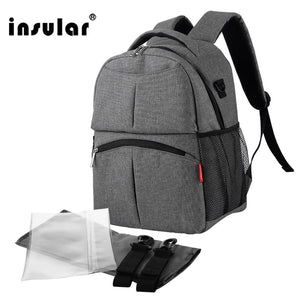 Insular Solid Color Baby Diaper Changing Backpack Bag Multifunctional Baby Mommy Bag Waterproof Mummy Nappy Stroller Backpack