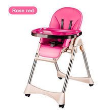 Load image into Gallery viewer, New Luxury Style Portable Baby Feeding Chair With PU Cushion Collapsible Plastic Baby High Chair Easy Clean PP Plate Highchair